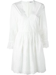 Red Valentino Eyelet Detail Flare Sleeve Midi Dress White