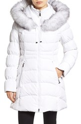 Laundry By Shelli Segal Women's Hooded Down And Feather Fill Coat With Detachable Faux Fur Trim Real White