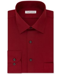 Van Heusen Men's Classic Fit Wrinkle Free Solid Dress Shirt Red