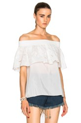 Tibi Off Shoulder Ruffle Top In White