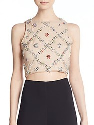 Alice Olivia Kesten Silk Rhinestone Patterned Silk Crop Top Nude Multi