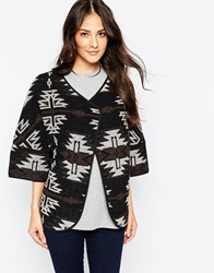 B.Young Inesse Belted 3 4 Sleeve Cape In Aztec Print Antracitgreymel