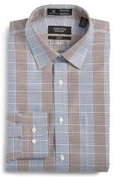 Nordstrom Men's Big And Tall Men's Shop Smartcare Tm Trim Fit Graphic Check Dress Shirt Brown Bag