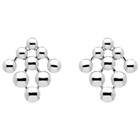 Monet Coin Statement Stud Earrings Silver