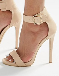 Truffle Collection 2 Part Heeled Sandals Nude Beige