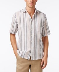 Tasso Elba Men's Linen Cotton Classic Fit Striped Shirt Only At Macy's Chestnut Combo