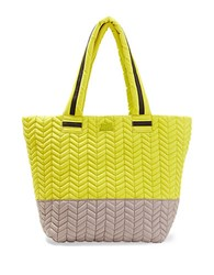 Steve Madden Roverc Chevron Quilted Nylon Tote Citron Grey
