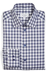 Eton Men's Big And Tall Contemporary Fit Check Dress Shirt Navy