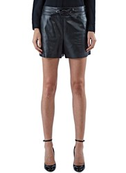 Proenza Schouler Structured Leather Shorts Black