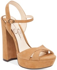Jessica Simpson Naidine Strappy Block Heel Sandals Women's Shoes Honey Brown