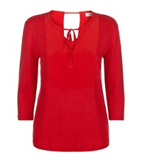 Sandro Terry Linen And Silk Tunic Top Female Red