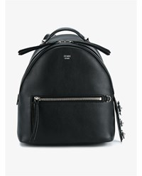 Fendi Mini Leather Backpack With Floral Embellishment Black Silver