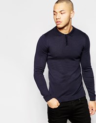 Asos Fitted Fit Knitted Polo In Cotton Navy