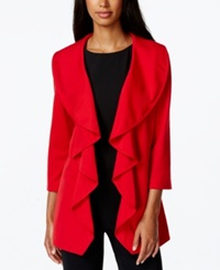 Calvin Klein Open Front Ruffle Jacket Red