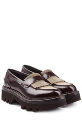 Brunello Cucinelli Leather Loafers With Embellishment Brown