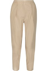 By Malene Birger Tracis Leather Tapered Pants Nude