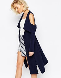Lavish Alice Collarless Cape Coat With Cold Shoulder Navy