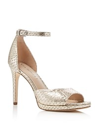 Via Spiga Salina Embossed Metallic Ankle Strap High Heel Pumps Platinum