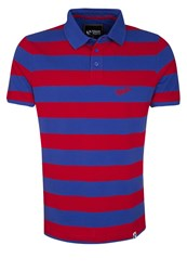 Your Turn Polo Shirt Blue Red Striped Bordeaux