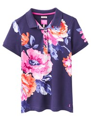 Joules Trinity Slim Fit Rose Print Polo Shirt Navy Rose