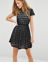 Pussycat London Skater Dress In Lace Black