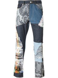 James Long Patchwork Slim Jeans Blue