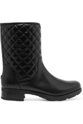 Moncler New Piccadilly Stiva Quilted Leather Boots Black