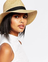 Vero Moda Straw Trilby Hat Black Ribbon Multi