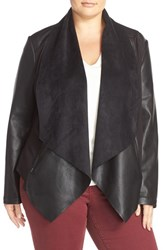 Kut From The Kloth Plus Size Women's 'Ana' Faux Leather Drape Front Jacket Black