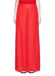 Rosetta Getty Silk Crepe Georgette Palazzo Pants Red
