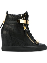Giuseppe Zanotti Design Concealed Wedge Hi Top Sneakers Black