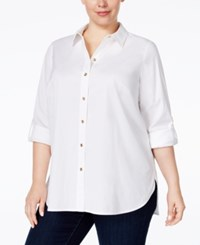 Charter Club Plus Size Roll Tab Button Down Shirt Only At Macy's Bright White