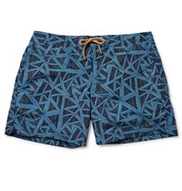 Thorsun Titan Slim Fit Mid Length Printed Swim Shorts Navy