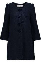 Goat Waffle Knit Cotton Coat Midnight Blue