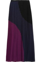 Dkny Color Block Pleated Georgette Midi Skirt Black