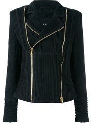 Balmain Ribbed Accent Biker Jacket Black