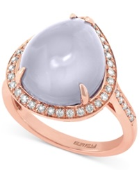 Effy Collection Effy Chalcedony 6 4 5 Ct. T.W. And Diamond 1 3 Ct. T.W. Ring In 14K Rose Gold