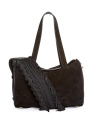 The Row Drum Fringed Strap Suede Bag Black