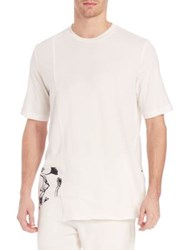 3.1 Phillip Lim Asymmetrical Floral Printed T Shirt Ant. White