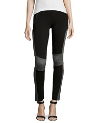 P. Luca Ponte Colorblock Panel Stitched Riding Pants Black Gray
