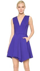 J. Mendel Pleated V Neck Dress Lapis
