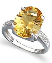 Macy's 14K White Gold Ring Oval Citrine 5 1 6 Ct. T.W. And Diamond Accent Oval Ring