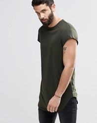 Asos Super Longline T Shirt With Cap Sleeve And Curved Hem In Khaki Army Green