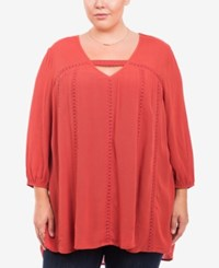 Eyeshadow Trendy Plus Size Gauze Top Dark Orange