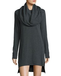 Blu Clover Madison Cowl Neck High Low Dress Charcoal