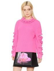 Christopher Kane Ruffle Trim Cashmere Sweater Neon Pink