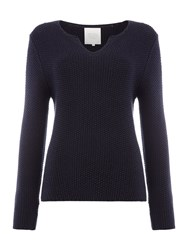 Part Two Casual Pullover In Structured Cotton Blue