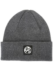 Paul Smith Ps By Ribbed Beanie Grey