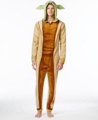 Briefly Stated Star Wars Men's Yoda Hooded Jumpsuit Pajamas From Brown Green
