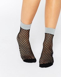 Jonathan Aston Flash Fishnet Sock Silver Black